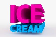 Большой 3D смелейший текст - мороженое Стоковое Изображение