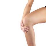 Боль в колене женщины Стоковые Фотографии RF