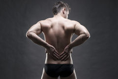 Боль почки Человек с backache Красивый мышечный культурист представляя на серой предпосылке Низкий конец ключа вверх по съемке ст Стоковое фото RF