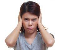 боль уха женщины Стоковые Изображения RF