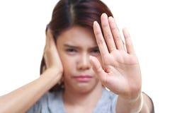 боль уха женщины Стоковые Фото