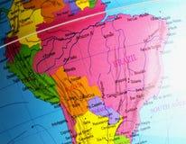 Бразилия в конце вверх над глобусом Стоковая Фотография