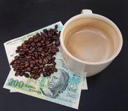 Бразилия зажарила в духовке кофейные зерна помещенные на банкнотах стоковая фотография rf