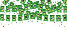 Бразилия сигнализирует предпосылку гирлянды белую с confetti иллюстрация вектора