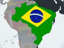 Бразилия с флагом на глобусе иллюстрация штока