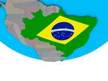 Бразилия с флагом на глобусе бесплатная иллюстрация