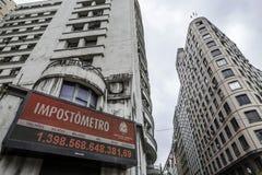 Бразилия - San Paolo - метр налога в улице boavista стоковые изображения rf