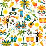 бразильская масленица вектор картины безшовный иллюстрация штока