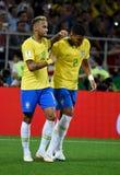 Бразильская суперзвезда Neymar и Сильва Thiago goalscorer после стоковое фото rf