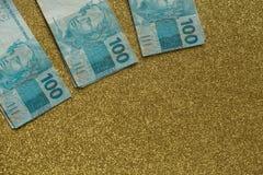 Бразильские деньги/reais/высоко номинальные Стоковое Изображение