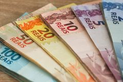 Бразильские reais денег, различный nominal Стоковое фото RF