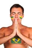 бразильский футбол вентилятора Стоковые Изображения