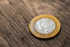 Бразильская реальная монетка Стоковое Изображение RF