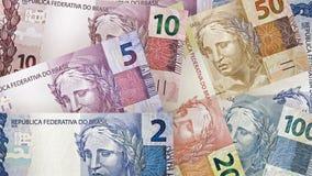 Бразильская реальная предпосылка счетов Стоковая Фотография
