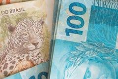 Бразильские деньги, reais, высоко номинальные, концепция успеха Стоковые Изображения RF