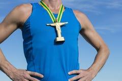 Бразильский спортсмен с золотой медалью Cristo Стоковые Фотографии RF