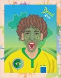 Бразильский футбольный болельщик с большими волосами Стоковые Изображения RF