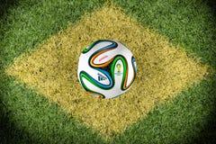 Бразильский флаг на тангаже Стоковая Фотография
