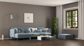 Брайн и голубая элегантная живущая комната иллюстрация вектора