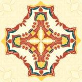 Брайн и желтая мандала вектора Декоративный элемент для вашего дизайна, орнамент шнурка, круглая картина серии деталей иллюстрация вектора
