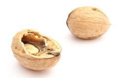 Брайн и свежий грецкий орех на белой предпосылке Стоковые Изображения RF