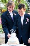 Брак гомосексуалистов - торт вырезывания совместно Стоковая Фотография RF