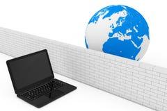 брандмауэр принципиальной схемы 3d пользуется ключом модель замка Безопасность компьтер-книжки брандмауэром в глобальной вычислит Стоковые Фото
