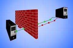 брандмауэр принципиальной схемы 3d пользуется ключом модель замка Стоковое фото RF