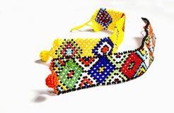 2 браслета Зулуса вышитых бисером в ярких цветах Стоковое Изображение RF