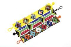 3 браслета Зулуса вышитых бисером продетого нитку в ярких цветах Стоковые Изображения RF