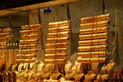 Браслеты и bangles золота Стоковое фото RF