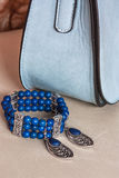 Браслет, серьги и сумка Стоковое Изображение