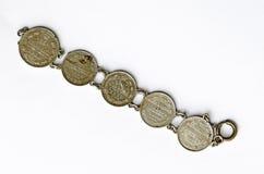 Браслет сделанный от русских серебряных монет  Стоковое Изображение