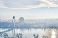 Братислава, Дунай, река, мост UFO Стоковые Изображения