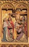 Братислава - тайная вечеря сцены Христоса. Высекаенный сброс от. цента 19.  на готическом бортовом алтаре Стоковые Изображения RF