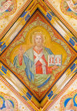 Братислава - фреска Иисуса Христоса от часовни St Ann готической бортовой Карл Jobst от. цента 19. в соборе St Martin. Стоковые Фотографии RF