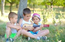 Братья играют гитару и поют в саде в лете Стоковое фото RF