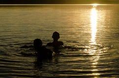 Братья играя в воде озера на заходе солнца Стоковые Фото