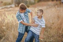 Братья имея потеху в поле Стоковая Фотография