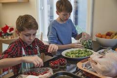 Братья помогая с рождественским ужином Стоковые Изображения
