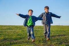 2 брать бежать совместно на луге Стоковые Фотографии RF