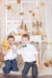 2 брать в украшениях рождества золота Стоковое Изображение RF