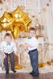 2 брать в украшениях рождества золота Стоковое фото RF