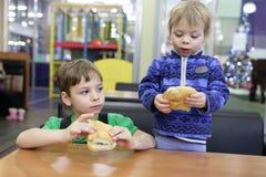 2 брать есть сандвичи Стоковые Изображения RF