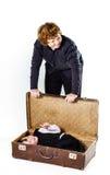 2 брать играя с ретро чемоданом Стоковое Изображение