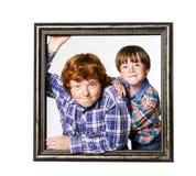 2 брать представляя с картинной рамкой Стоковая Фотография RF