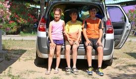 3 брать сидя в хоботе автомобиля Стоковые Изображения