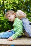 2 брать сидя спина к спине в саде Стоковое Фото