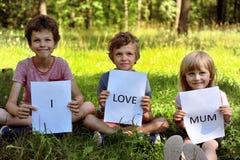 3 брать с мамой влюбленности знака i Стоковые Фотографии RF