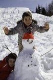 2 брать с снеговиком Стоковые Изображения RF
